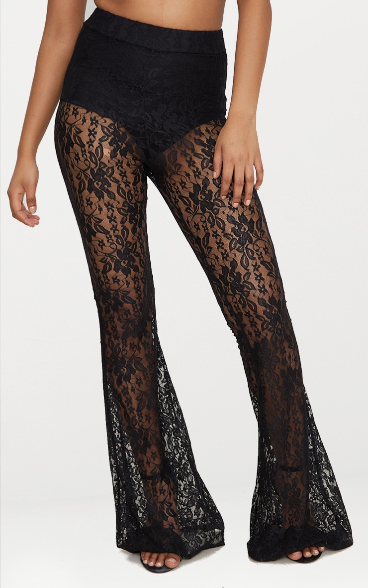 Petite Black Lace Flared Trousers 2