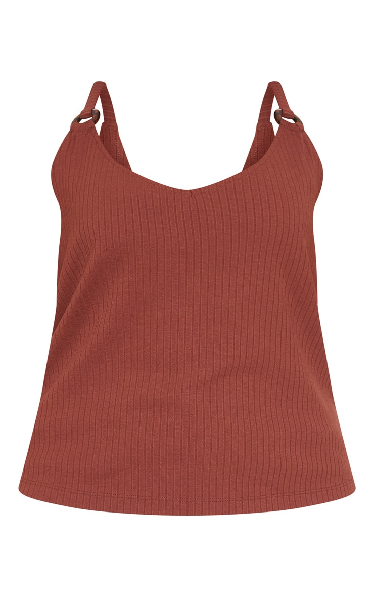 Plus Chocolate Brown Knit Tortoise Ring Cami Top 3