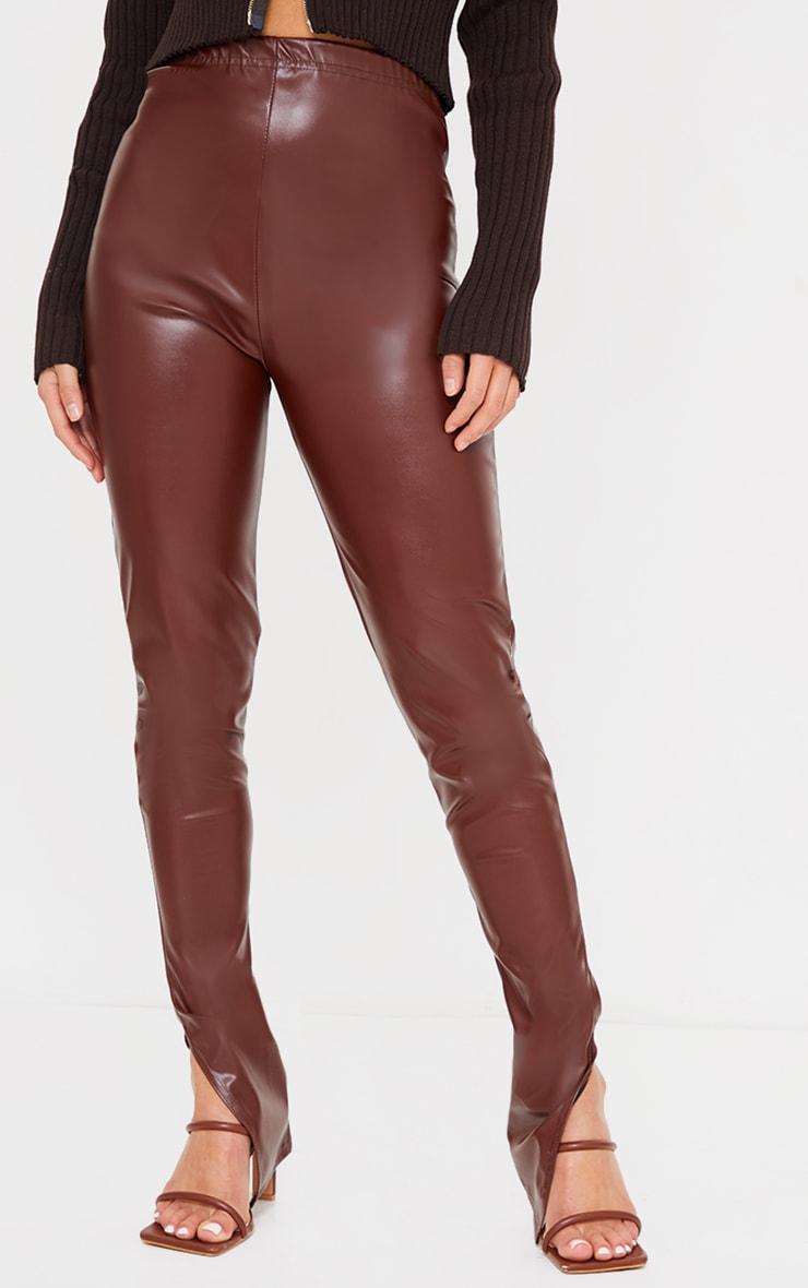 Petite Chocolate Faux Leather Split Hem Leggings 2