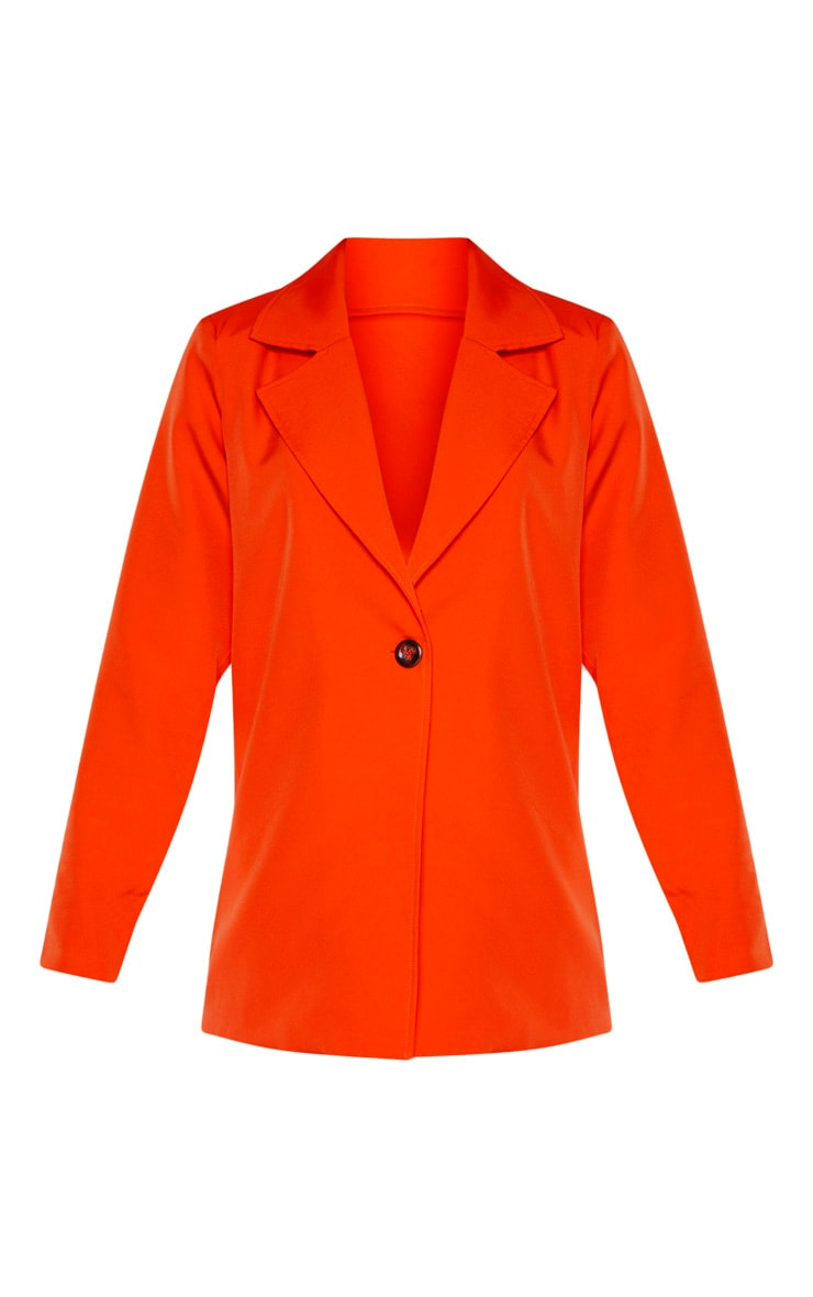 Bright Orange Woven Blazer 3