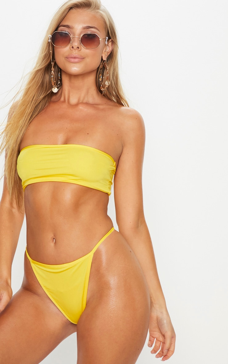 Yellow Mix & Match Bandeau Bikini Top 1