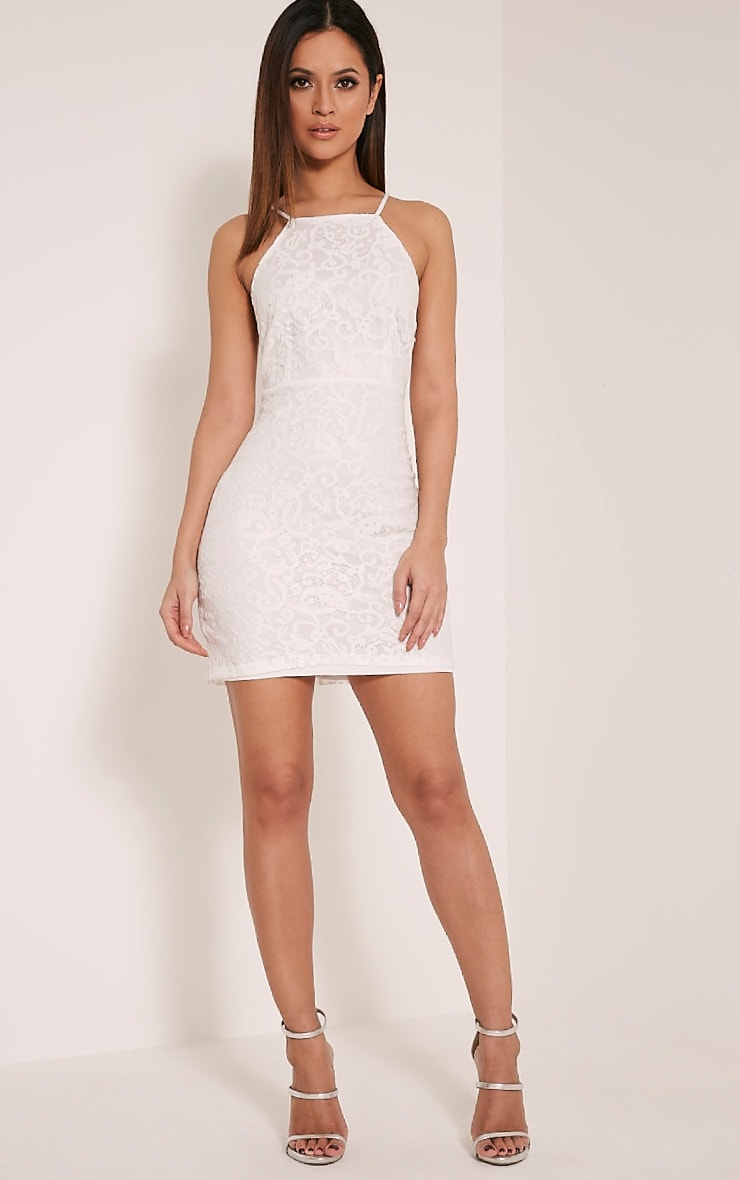 Elora White Cross Back Lace Mini Dress 5