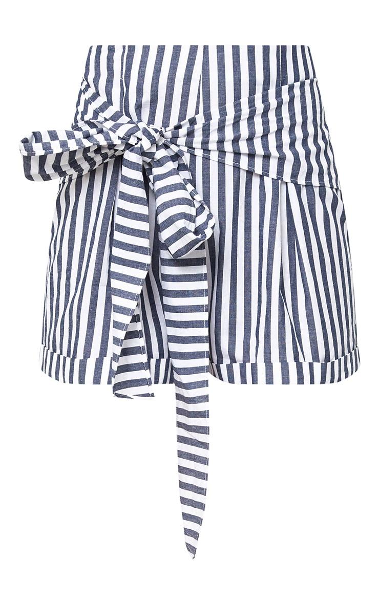 Navy Tie Waist Stripe Shorts 3