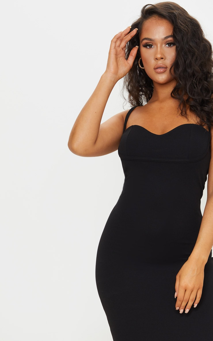 Black Strappy Cup Detail Midi Dress 4