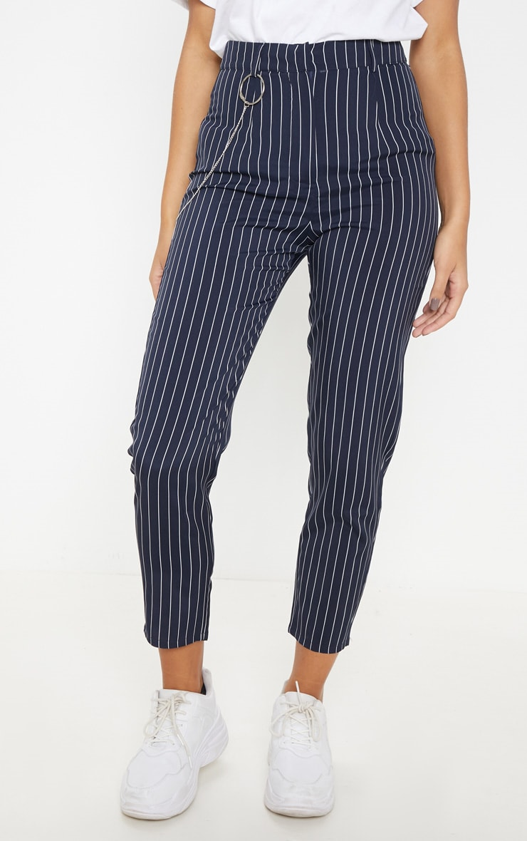 Navy Pinstripe Chain Detail Slim Leg Pants 2