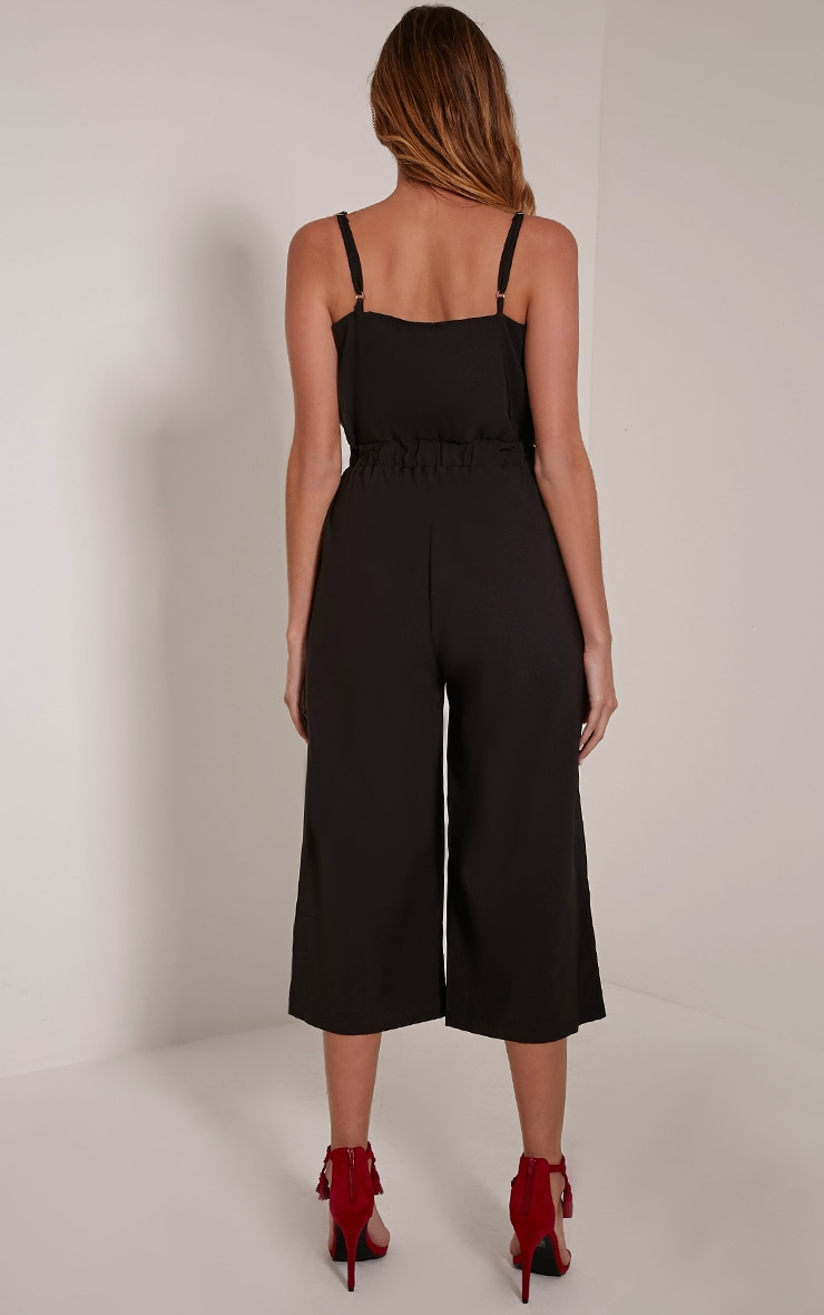 Jacinta Black Wrap Crepe Culotte Jumpsuit 2