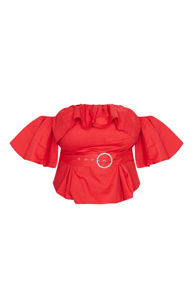 Plus Red Frilled Detail Belted Crop Top 3