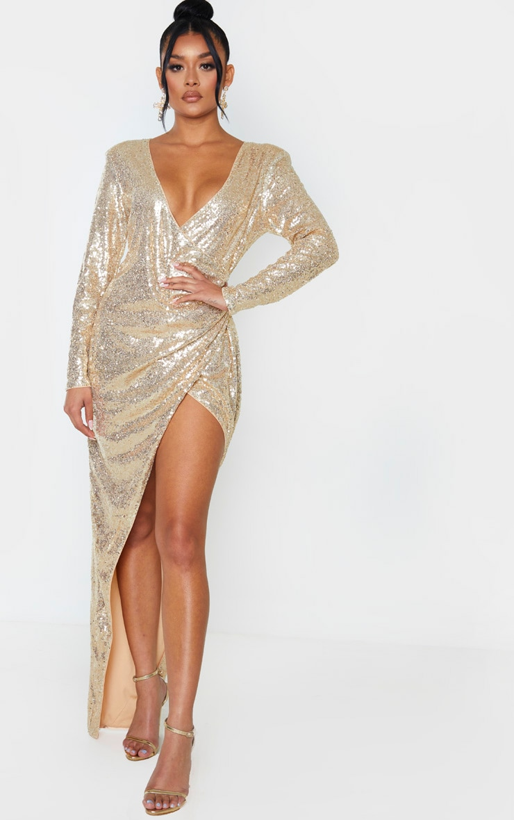 Gold Sequin Long Sleeve Plunge Wrap Detail Maxi Dress 1