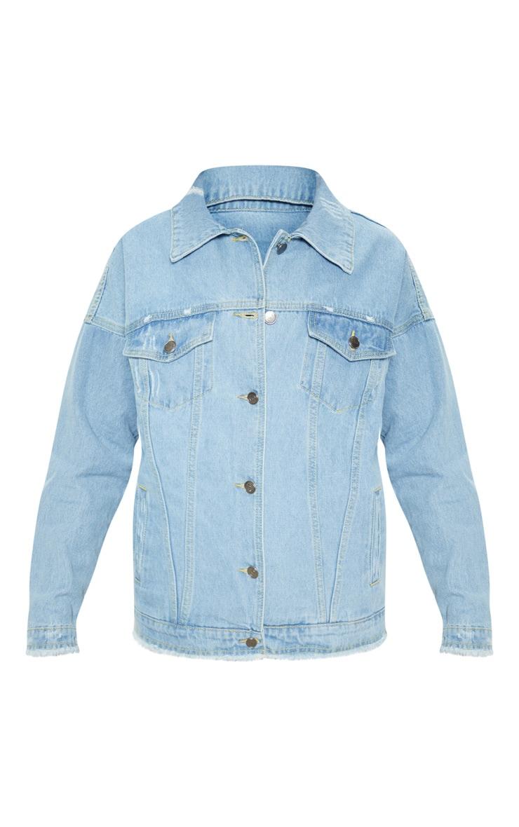 Aymeline Light Wash Distressed Oversized Denim Jacket 3