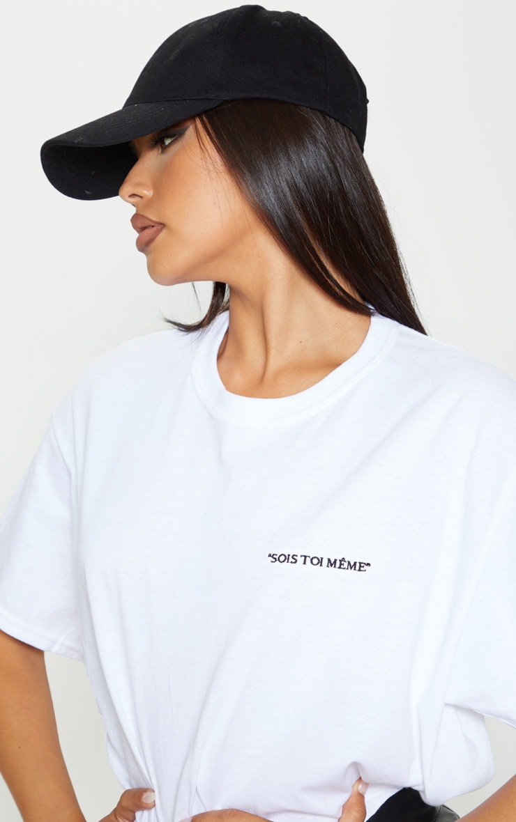 White Be Yourself Embroidered Oversized T Shirt 5