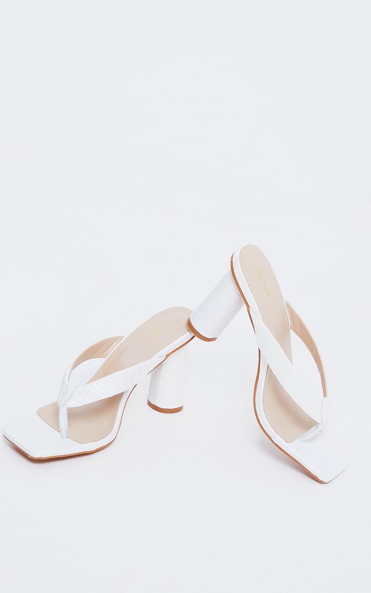 White Wide Fit PU Toe Thong Square Toe Circle High Heel Mules 4