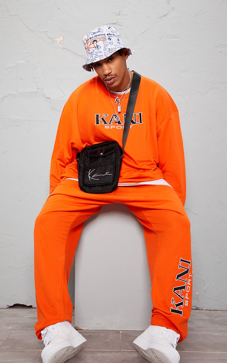 KARL KANI Orange Embroidered Oversized Sweatshirt 7