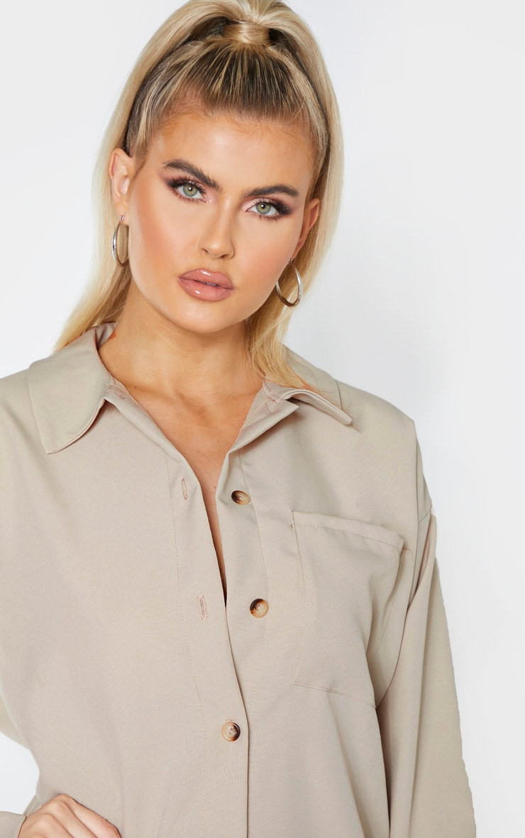 Tall Stone Pocket Detail Oversized Shirt Dress 5