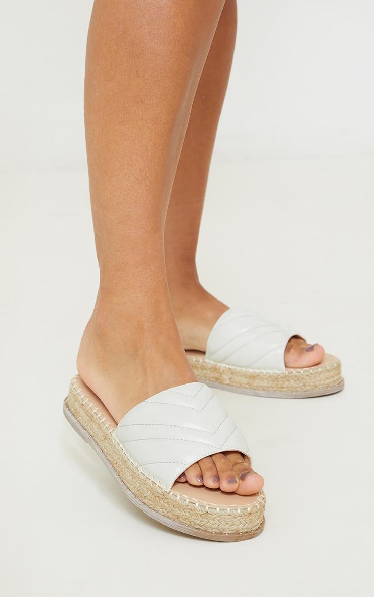 White Quilted Mule Flatform Espadrille Sandals 2