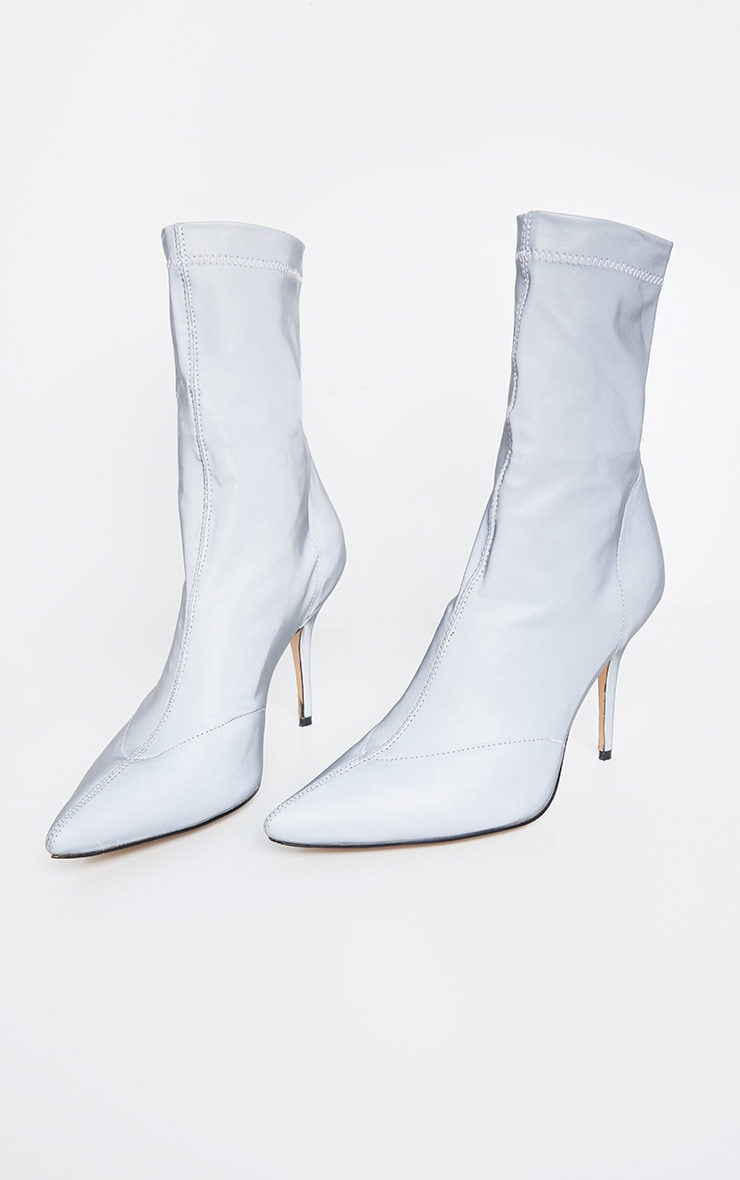 Grey Reflective Neoprene Heeled Sock Boot 3