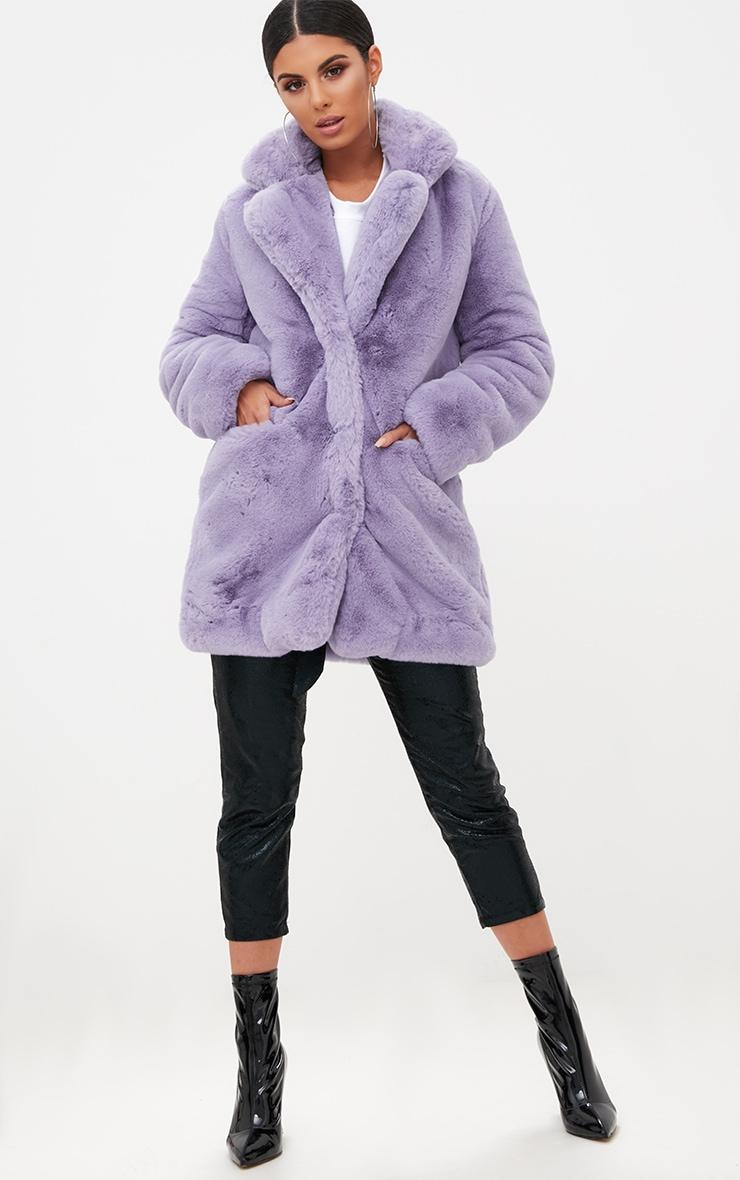 Lilac Premium Faux Fur Coat 4