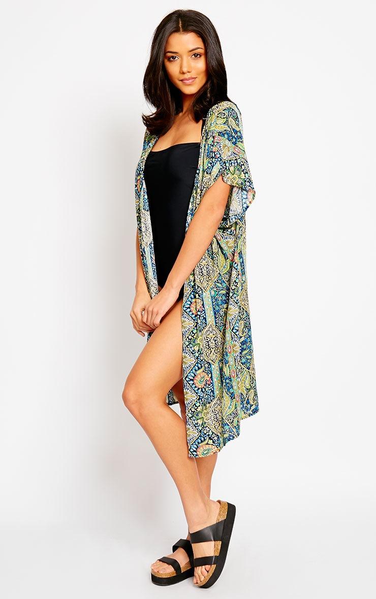 Safire Blue Paisley Short Sleeve Kimono 3