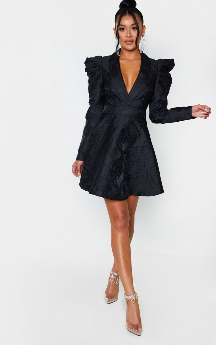 Black Jacquard Puff Sleeve Lapel Detail Skater Dress 4