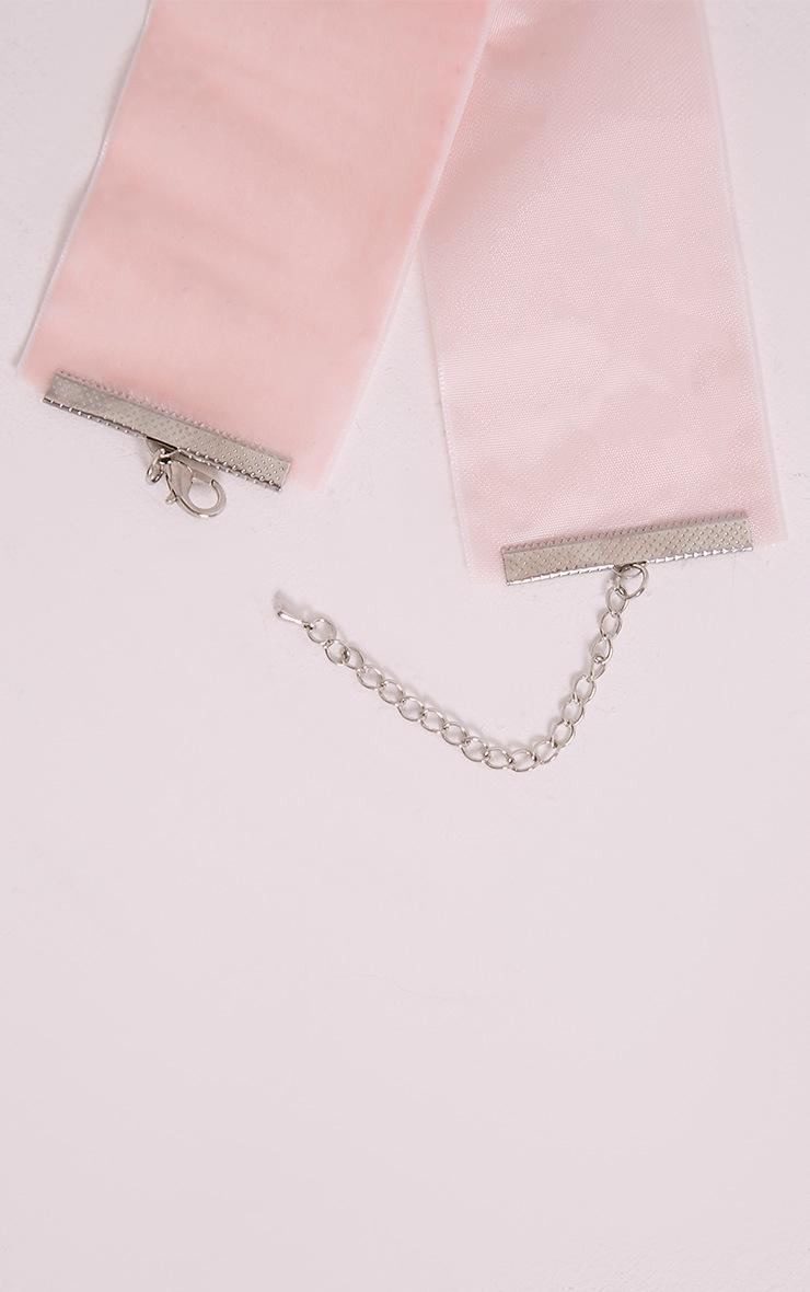 Julianna Baby Pink Velvet Oversized Choker 2