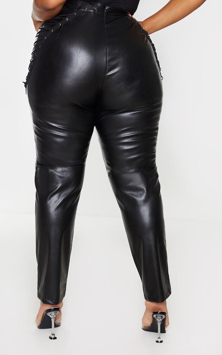 Plus Black PU Lace Up Detail Trouser 3