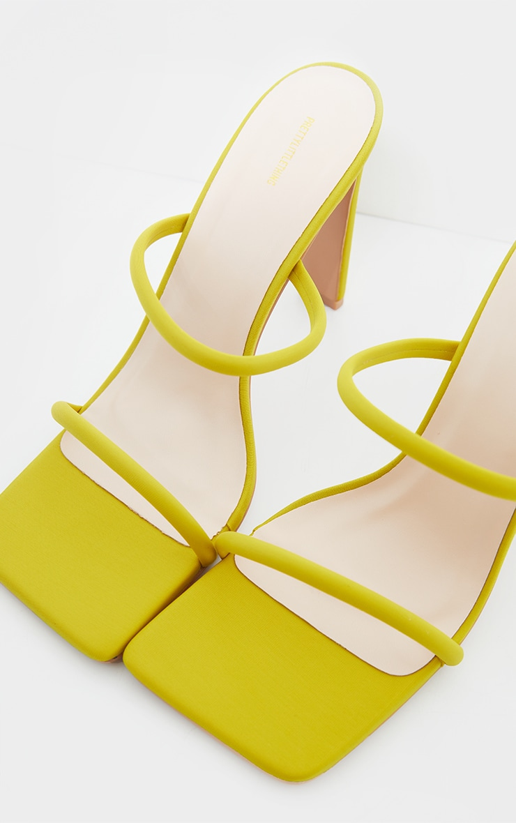 Lime Lycra Extreme Square Toe Twin Strap Mule High Heel 3