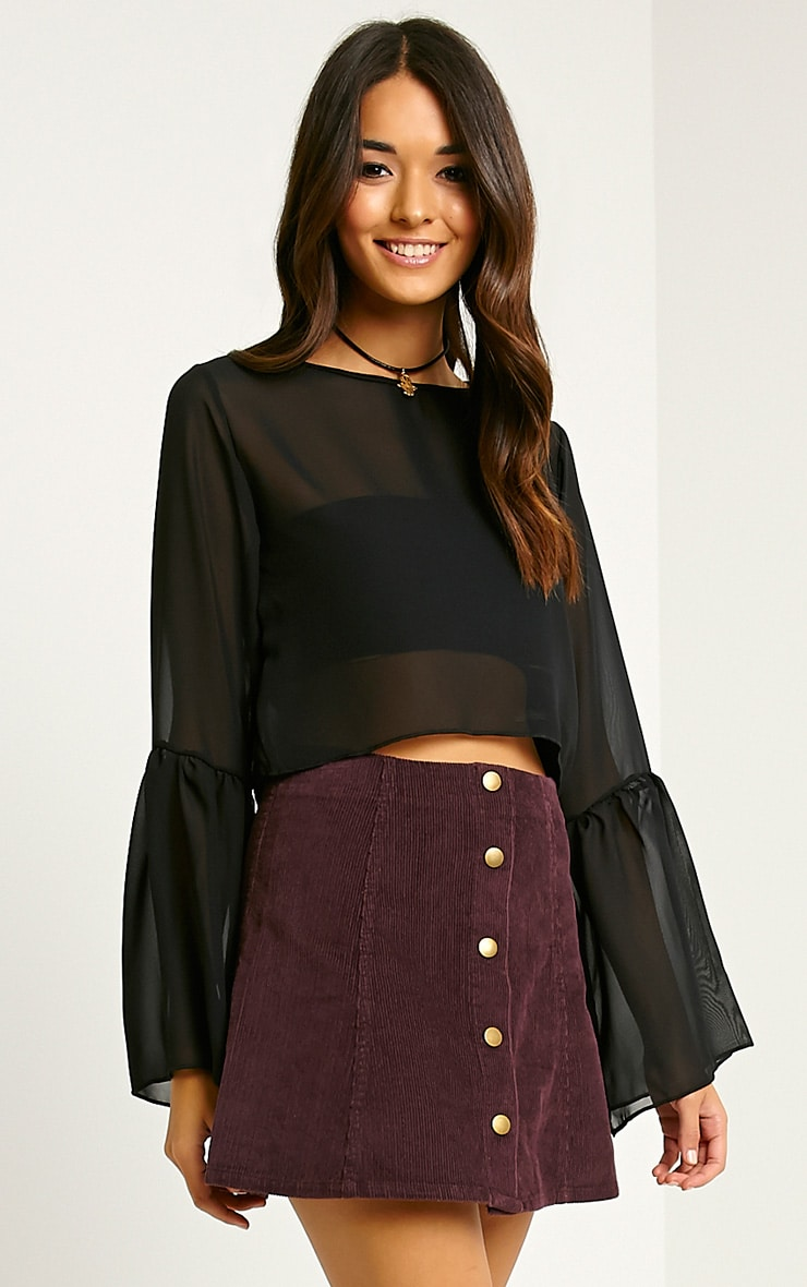 Turia Plum Cord Button Front Skirt 1