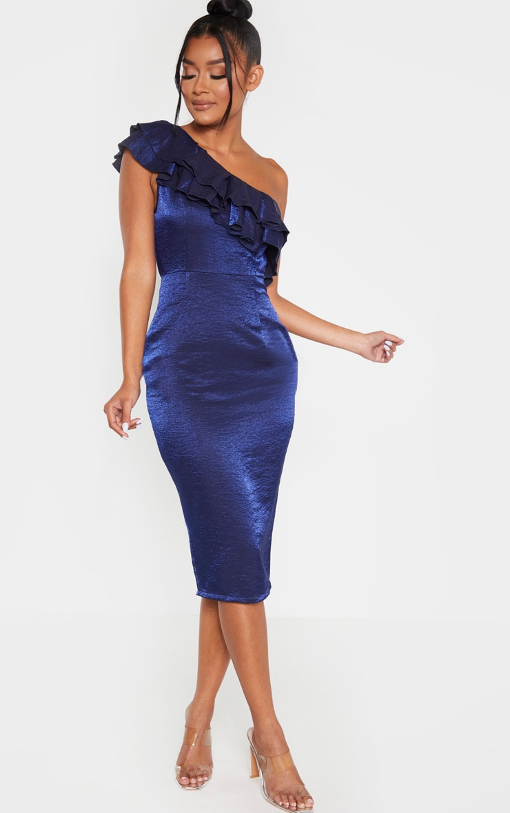 Navy Metallic One Shoulder Frill Midi Dress 1