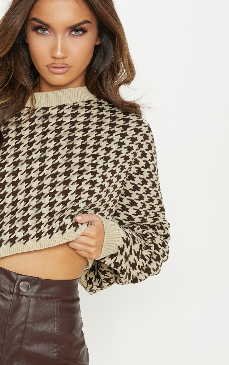 Stone Dogtooth Knitted Cropped Sweater 5