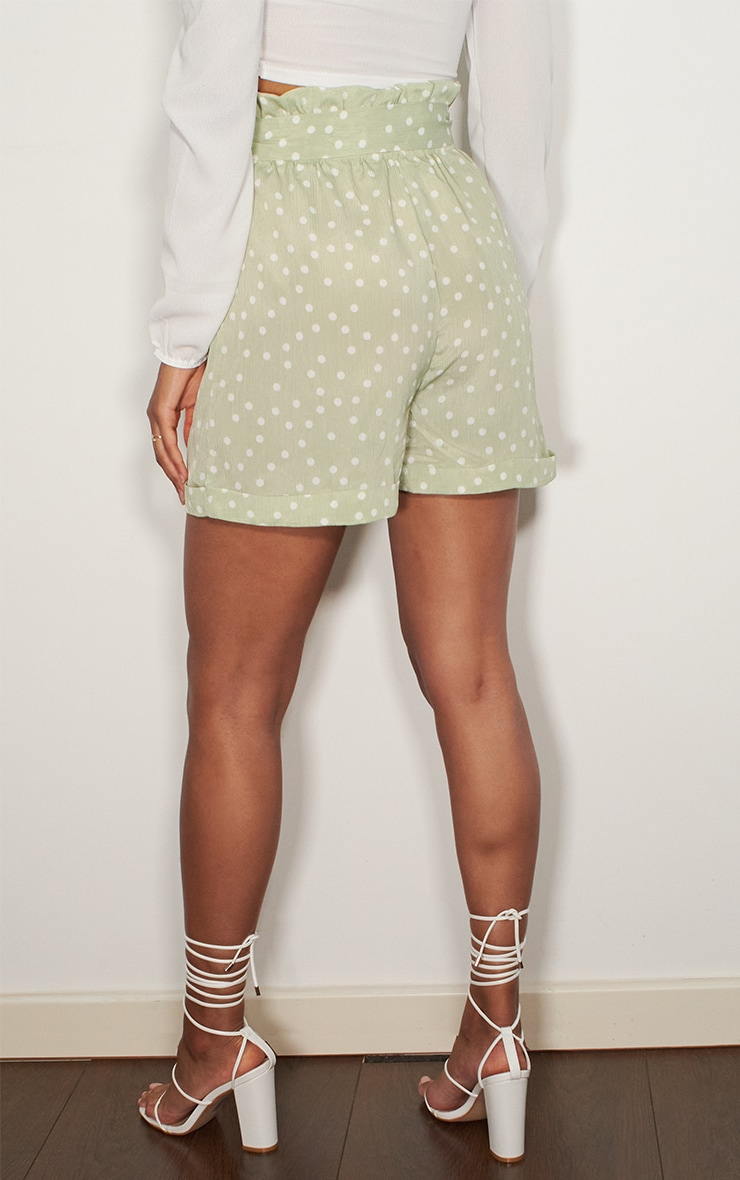 Sage Green Polka Dot Satin Shorts 3