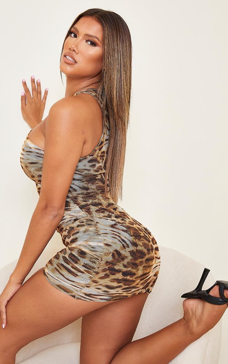 Shape Brown Leopard Print Mesh Halterneck Bodycon Dress 2