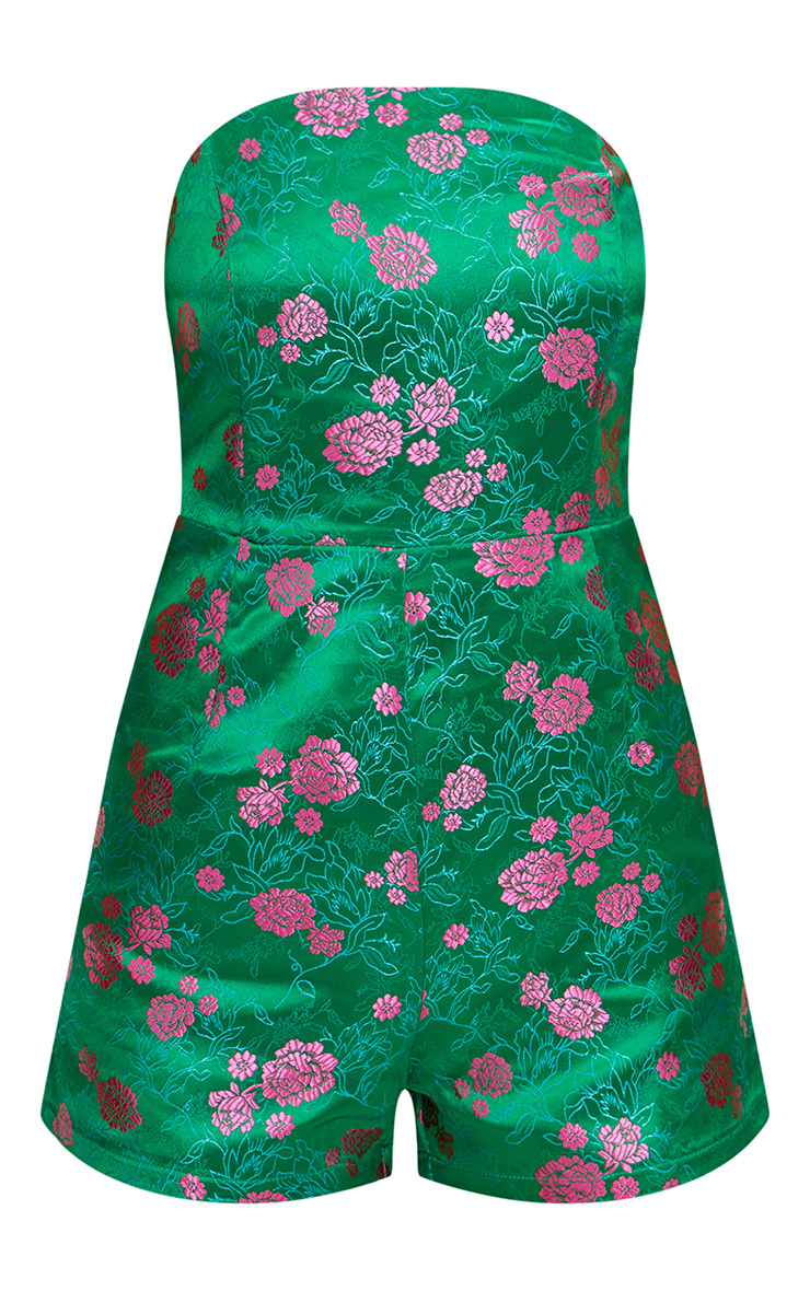 Green Floral Jacquard Playsuit 3