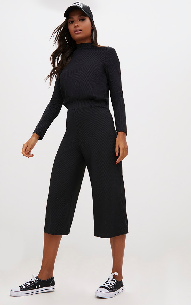 Black Ribbed High Neck Culotte Jumpsuit  1