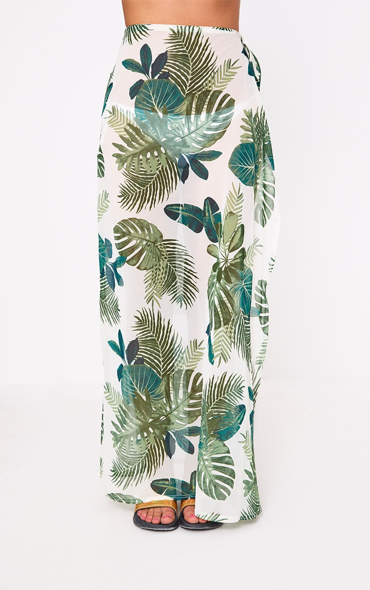 White Chiffon Palm Print Beach Maxi Skirt 2