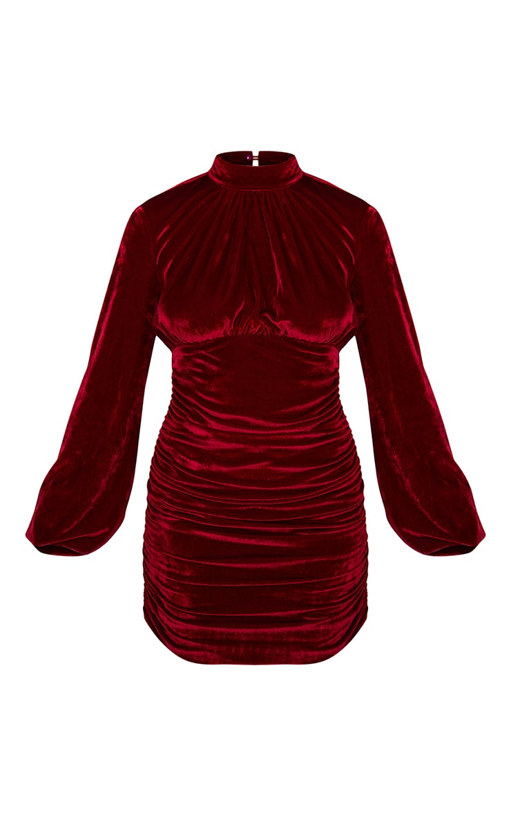 Burgundy Velvet High Neck Ruched Balloon Sleeve Bodycon Dress 5