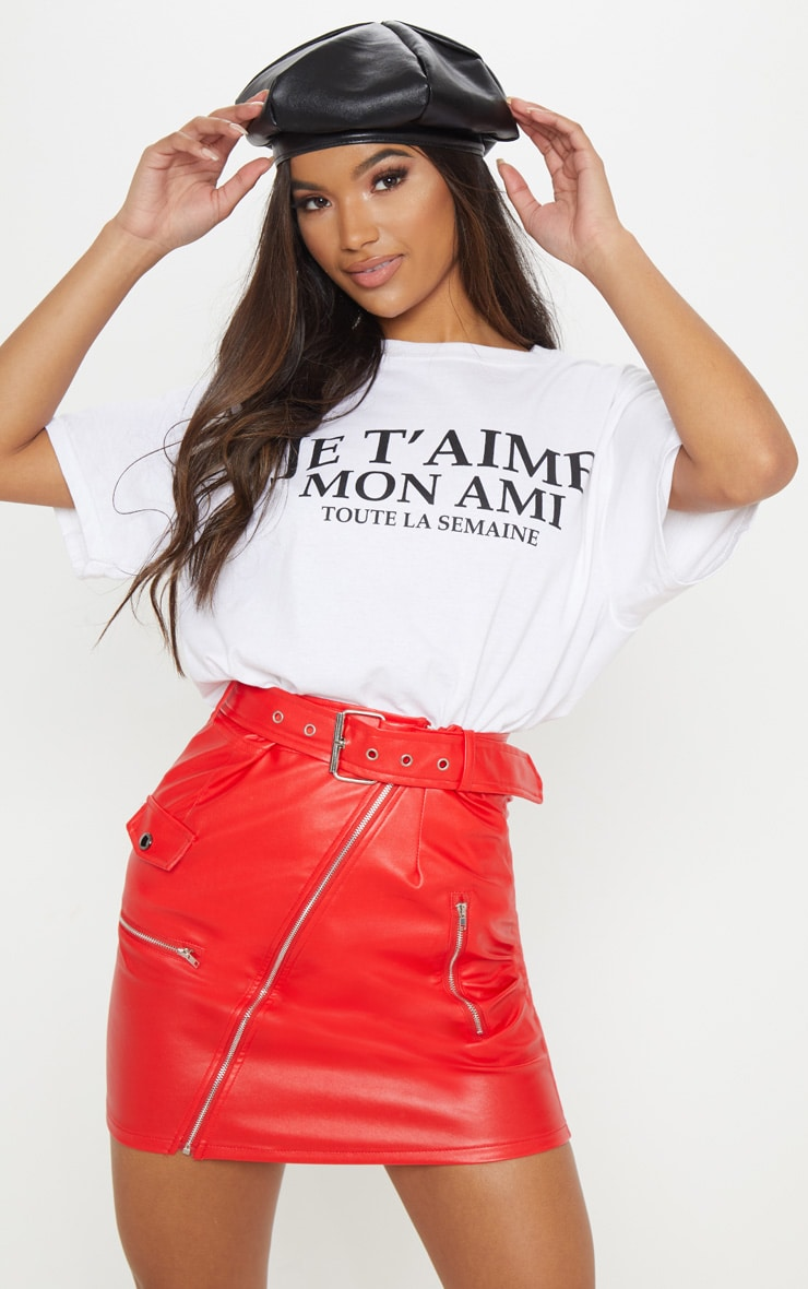 Red Faux Leather Biker Belted Mini Skirt 2