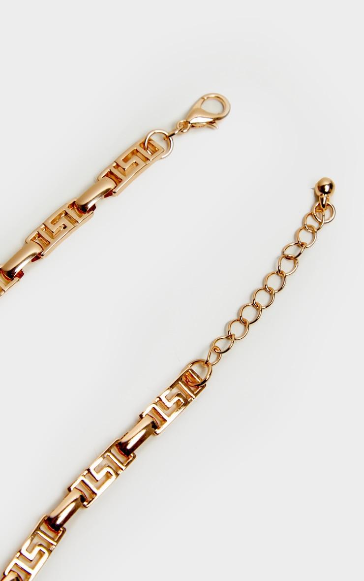Gold Greek Key Link Anklet 4