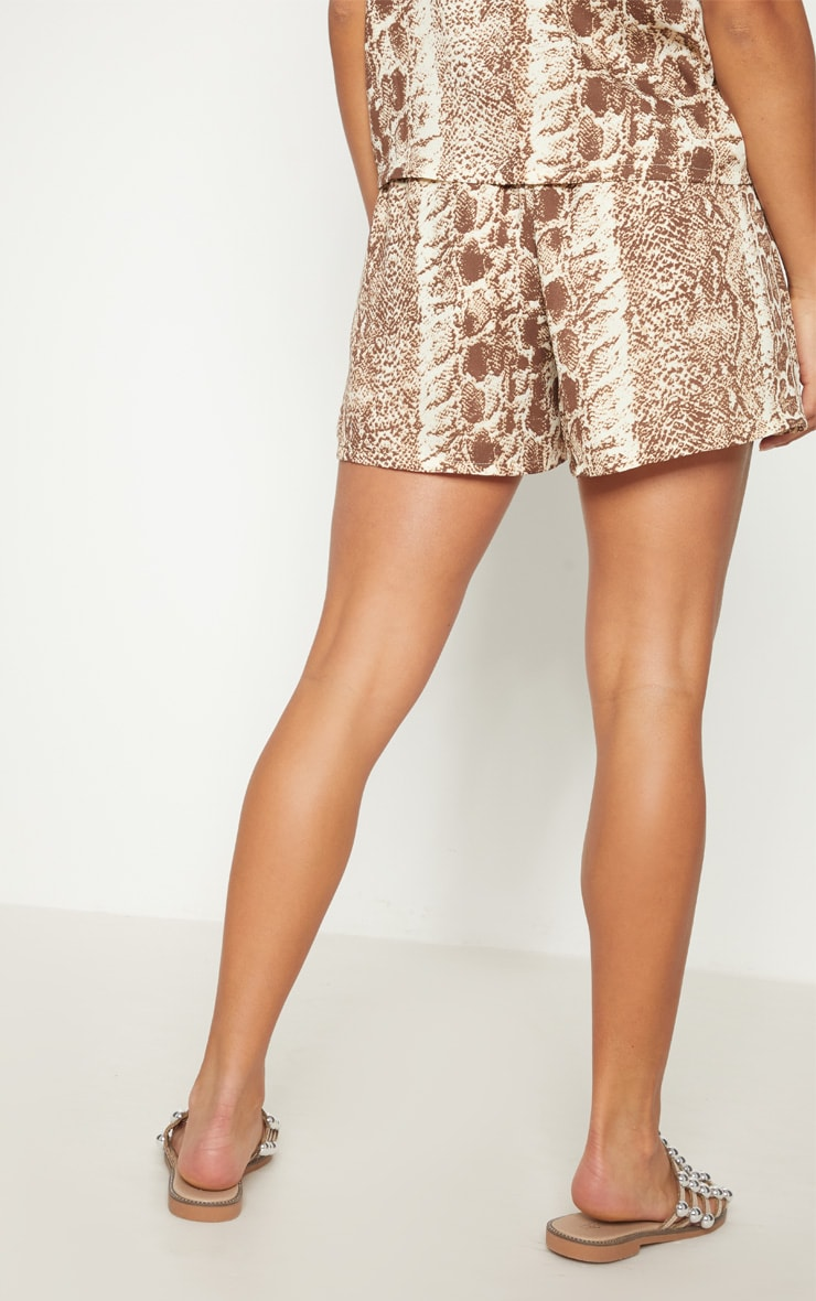 Petite Brown Snake Print Floaty Shorts 4