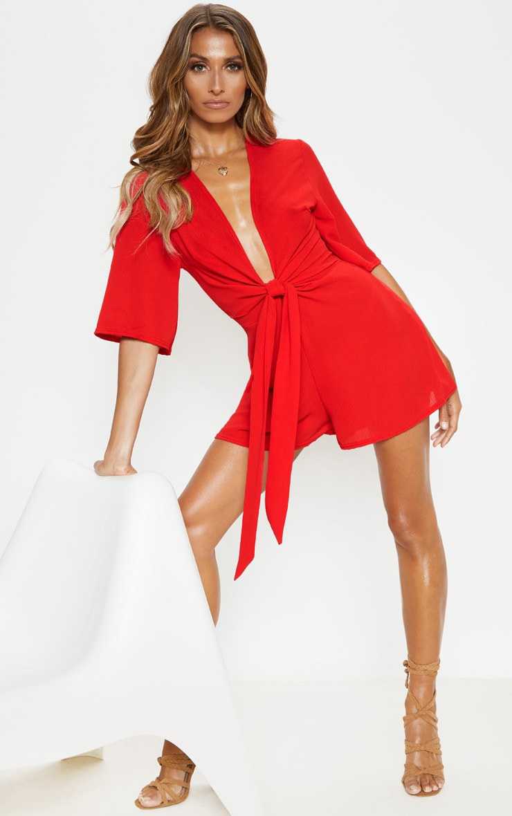 Red Tie Front Playsuit 4