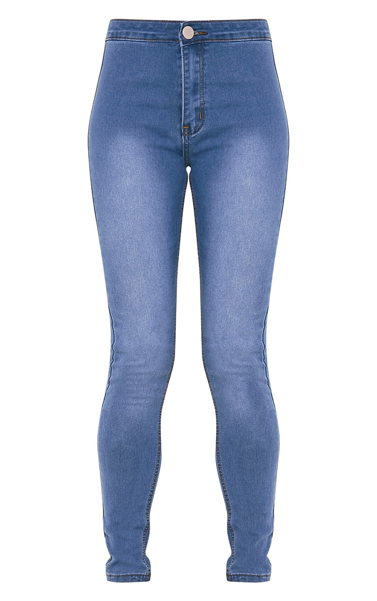 Kylie jean skinny bleu taille moyenne délavage moyen 3