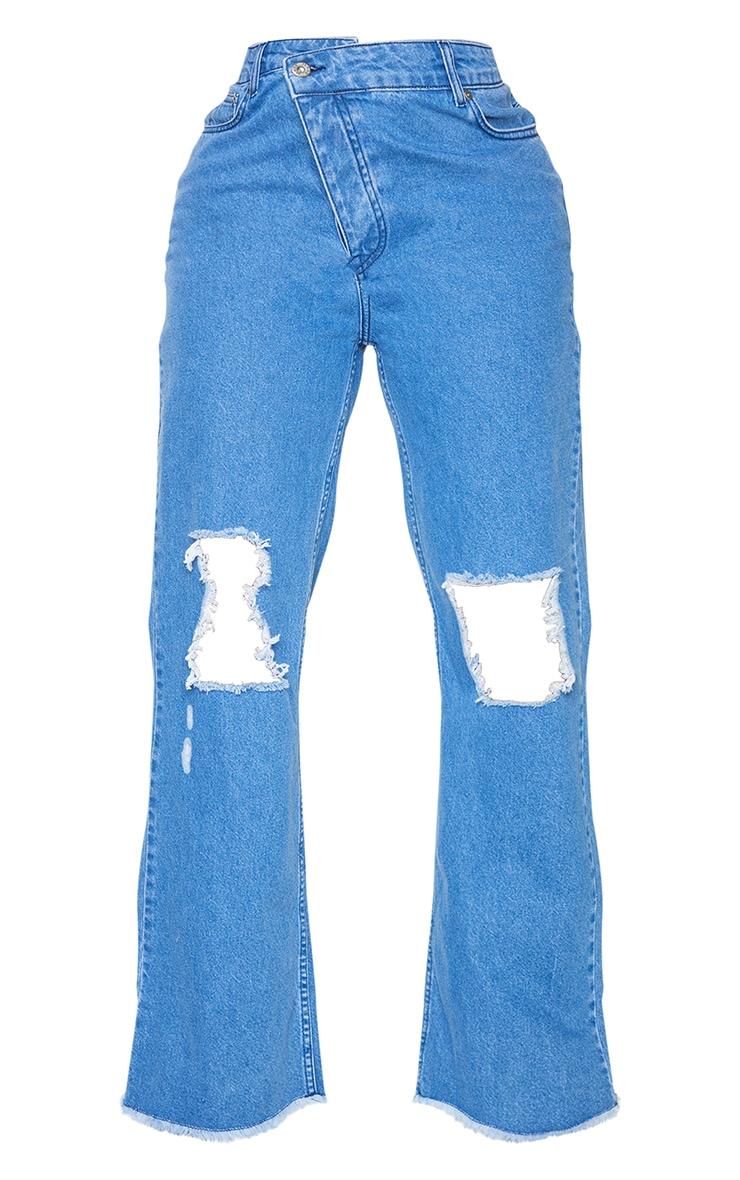 PRETTYLITTLETHING Shape Mid Blue Wash Asymmetric Waist Distressed Straight Leg Jeans 5