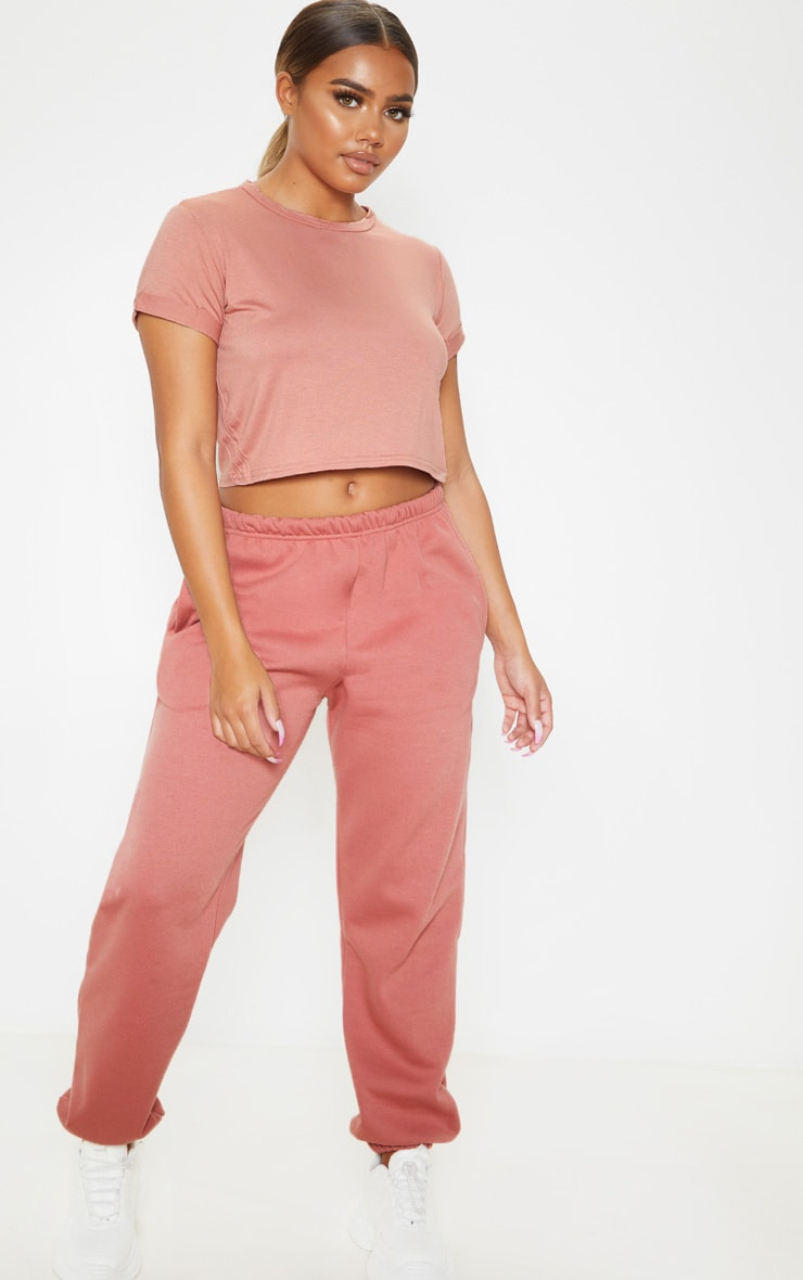 Basic Dusty Rose Roll Sleeve Crop T Shirt 3