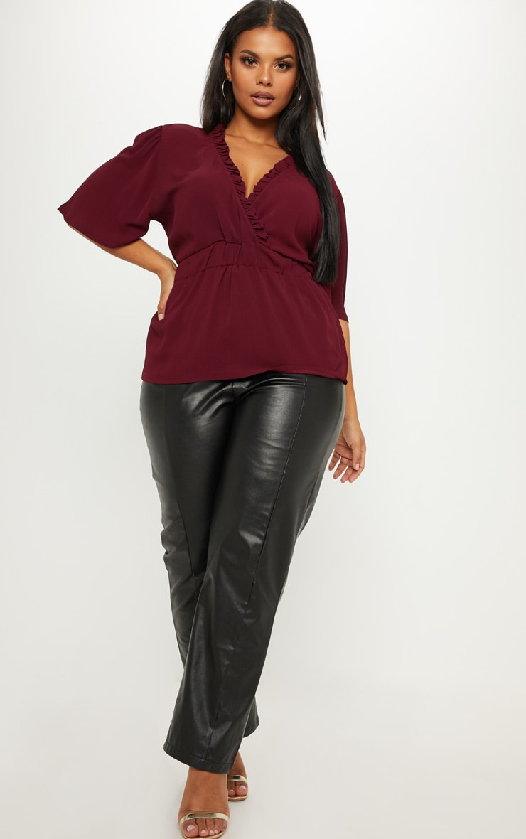 Plus Burgundy Frill Detail Wrap Top 4