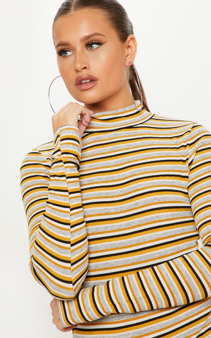 Mustard Stripe Rib Roll Neck Long Sleeve Bodysuit 6 99da8091e