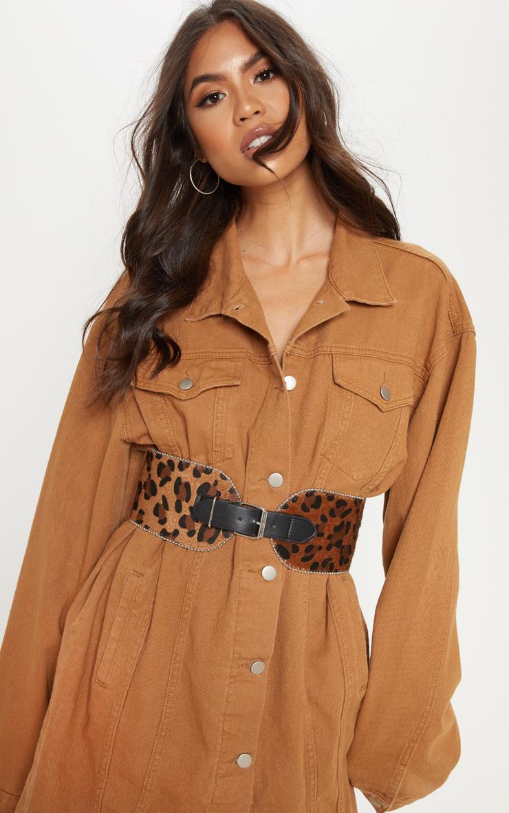 Brown Leopard Faux Pony Hair Ball Chain Border Belt 1