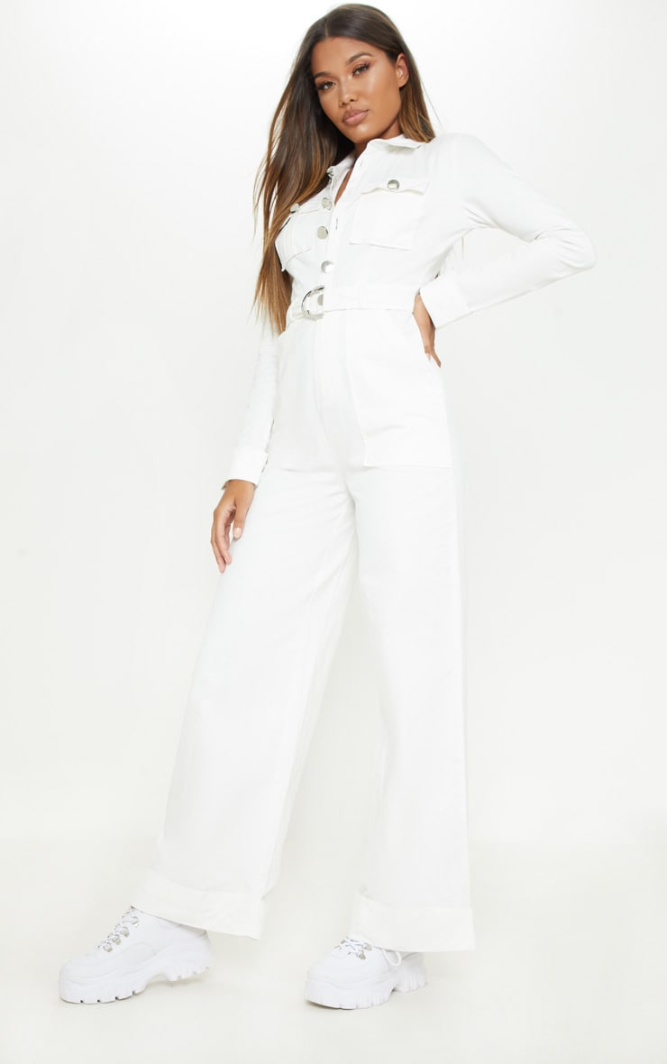 White Pocket Detail Wide Leg Utility Jumpsuit  4