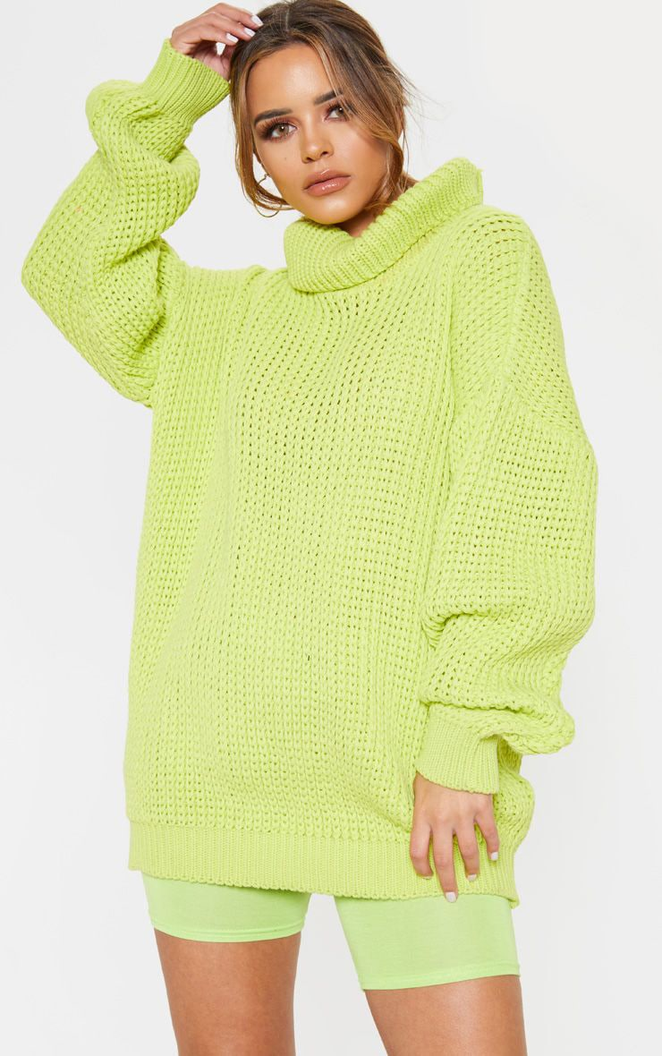 96e99d60481901 Petite Neon Lime Green Roll Neck Oversized Chunky Knit Sweater image 1