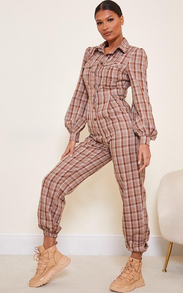 Brown Check Pocket Detail Shirt Jumpsuit 3