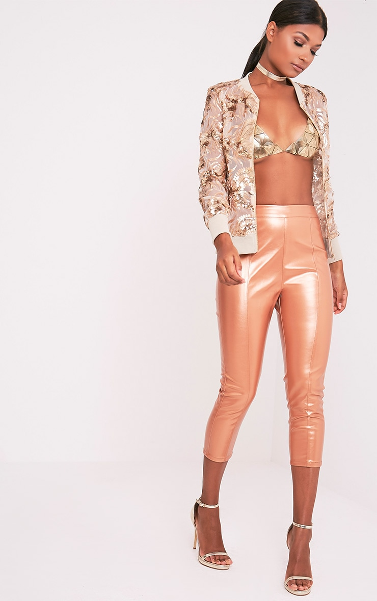 Daysha Bronze Cropped Leather Trousers 2