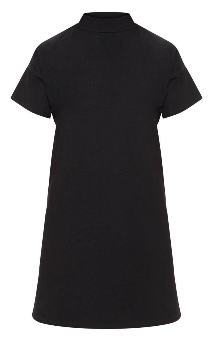 Black High Neck Oversized T Shirt Dress 3