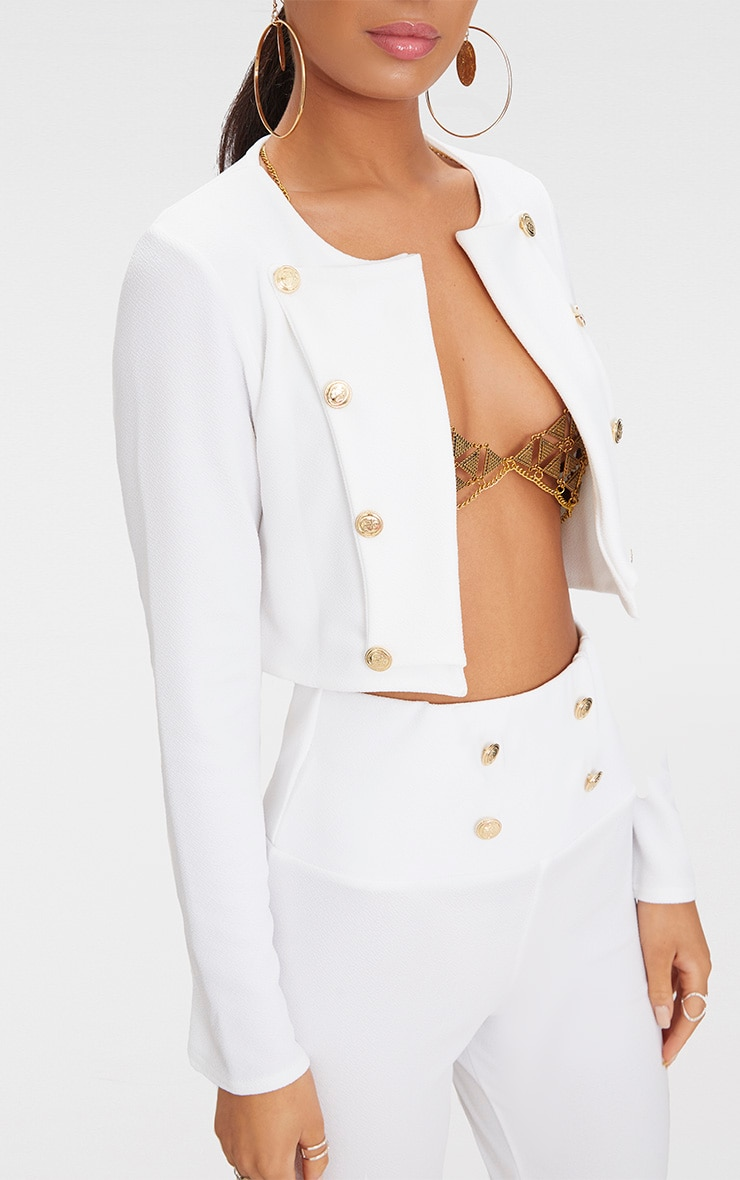 White Military Cropped Jacket  5